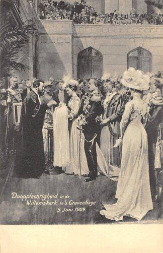 Ansichtkaart 's-Gravenhage Doopplechtigheid Prinses Juliana in de Willemskerk 5 juni 1909 Koningshuis HC24051
