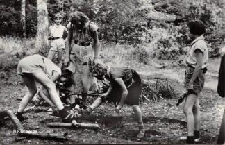 Ansichtkaart N.P.G. Eerde Ommen Aanleggen van houtvuur door padvindsters Padvinderij 1968 HC24061