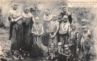 Ansichtkaart Tanzania Oost-Afrika De Masais met koperen hals- en armbanden Missiën der Paters v.d. H. Geest Lier en Weert België Europa HC24067