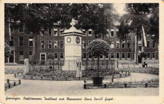 Ansichtkaart Groningen Gyotplein Doofstommen Instituut met Monument Henri Daniel Guyot HC24160