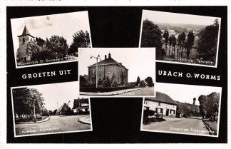 Ansichtkaart Ubach over Worms Groeten uit Abaissenbos St. bernadette Kerk Raadhuis te Waubach Rimburg Groenstraat Rimburgerweg Lauradorp Julianaplein HC24182