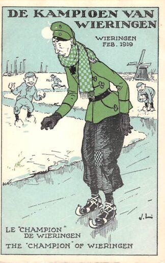 Ansichtkaart Duitsland WO1 1914-1918 Spotprent Kroonprins Wilhelm gevlucht naar Wieringen in Nederland De Kampioen van Wieringen op de schaats Feb. 1919 Deutschland Europa HC24195