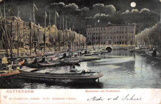 Ansichtkaart Rotterdam Blaakhaven met Postkantoor en binnenvaart schepen Scheepvaart HC24258
