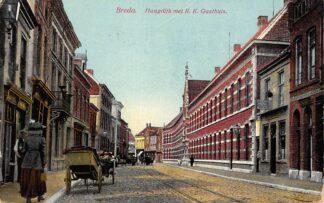 Ansichtkaart Breda Haagdijk met R.K. Gasthuis Ziekenhuis 1910 HC24275