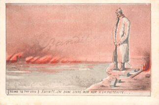 Ansichtkaart Frankrijk Duitsland WO1 1914-1918 Reims 1914 Cartoon Kaiser Wilhelm Enfin!!.. Jai donc Livre mon nom a la Posterite France Deutschland Europa HC24317