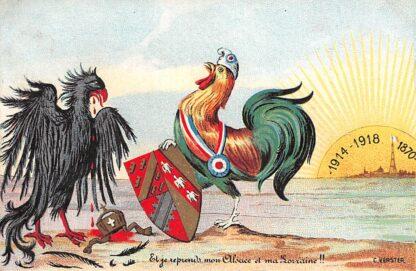Ansichtkaart België Frankrijk Duitsland Cartoon De Franse Haan kraait victorie tegen de Duitse Adelaar Illustrator C. Verster France Deutschland Europa HC24320