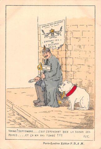 Ansichtkaart Duitsland Frankrijk WO1 1914-1918 Cartoon Spotprent Kaiser Wilhelm en Moltke als bedelaar Militair France Deutschland Europa HC24321