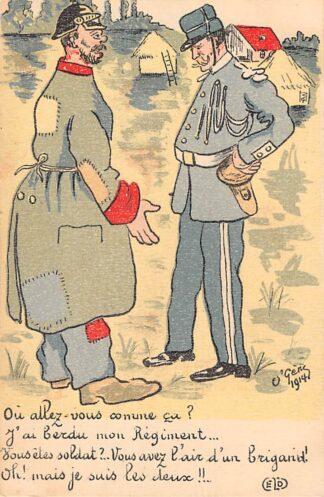 Ansichtkaart Frankrijk Duitsland WO1 1914-1918 Militair Cartoon Spotprent Kaiser Wilhelm Berooid Deutschland France Europa HC24325