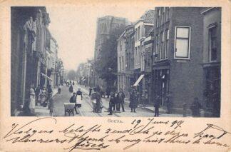 Ansichtkaart Gouda Kleiweg hoek Sint Anthoniestraat met onafgebouwde R.K. Kerk 1899 HC24339