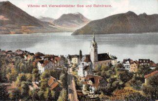 Ansichtkaart Zwitserland Vitznau mit Vierwaldstatter See und Bahtrace Rigi-Bahn Spoorwegen Schweiz Suisse Switzerland Europa HC24420