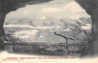 Ansichtkaart Zwitserland Jungfraubahn Station Eigerwand Blick nach Grindelwald und Faulhornkette Spoorwegen Schweiz Suisse Switzerland Europa HC24422