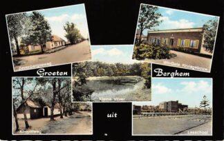 Ansichtkaart Berghem Oss Groeten uit 1968 Zevenbergseweg Kleine Vijver Koepelweg Wit-Gele Kruisgebouw en Lea school HC24485
