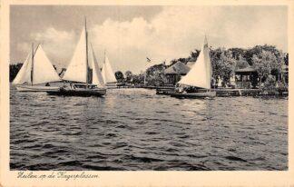 Ansichtkaart De Kaag Zeilen op de Kagerplassen Warmond Jachthaven Restaurant 1937HC24489