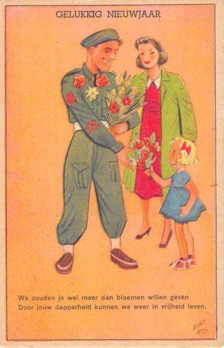 Ansichtkaart Militair Bevrijding WO2 1945 Illustrator Guust Hens Gelukkkig Nieuwjaar Humor Cartoon HC24640