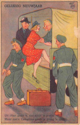 Ansichtkaart Militair Bevrijding WO2 1945 Cartoon Humor Illustrator Guust Hens Gelukkig Nieuwjaar HC24641
