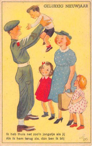 Ansichtkaart Militair Bevrijding WO2 1945 Illustrator Guust Hens Cartoon Humor Gelukkig Nieuwjaar HC24642