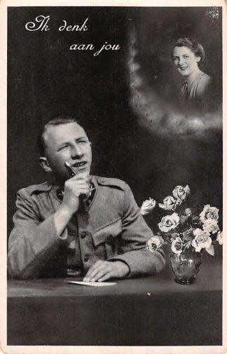 Ansichtkaart Militair Mobilisatie WO2 1939 Ik denk aan jou Jan van Dalen afkomstig uit Bolsward schrijft brief aan vrouw HC24668
