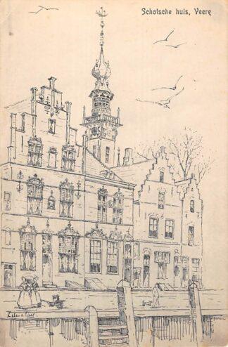 Ansichtkaart Veere Schotse Huis Illustratie pm. 1920 Noord-Beveland HC24680