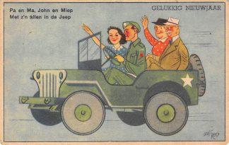Ansichtkaart Militair Bevrijding WO2 1945 In de jeep Illustrator Guust Hens Cartoon HC24728