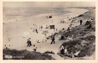 Ansichtkaart Cadzand Bad Idylle Duinen strand en zee met badgasten 1950 Sluis Zeeuws-Vlaanderen HC24851