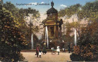 Ansichtkaart Amsterdam Sarphatiepark met monument 1916 HC24938