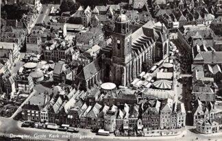 Ansichtkaart Deventer Grote Kerk met omgeving 1957 KLM Luchtfoto no. 17953 HC24957