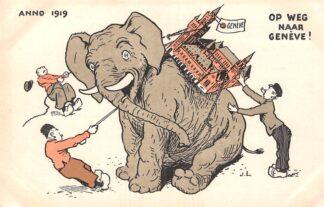 Ansichtkaart Den Haag WO1 1914-1918 Vredespaleis op olifant op weg naar Geneve Illustrator J.L. Cartoon Humor 1919 HC24958