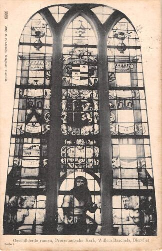 Ansichtkaart Biervliet Geschilderde ramen Protestantsche Kerk Willem Baschels Terneuzen Zeeuws-Vlaanderen HC24982
