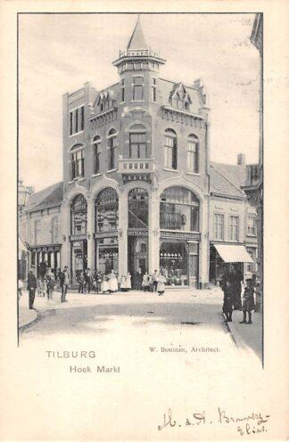 Ansichtkaart Tilburg Hoek Markt Dryver Heeren en Kinderkleeding W. Bouman, Architect 1901 HC24990