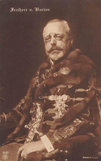 Ansichtkaart Oostenrijk - Hongarije WO1 1914-1918 Freiherr von Burian Rajecz Imperial Foreign Minister Osterreich Austria Hungary Magyarorszag Europa HC24998