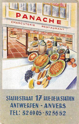 Ansichtkaart België Antwerpen 1935 Reclame Panache Charcuterie Restaurant Statiestraat 17 Europa HC25041