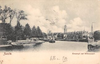 Ansichtkaart Zwolle Emmawijk met Willemsvaart 1906 Molen Binnenvaart schepen Sleepboot HC25064