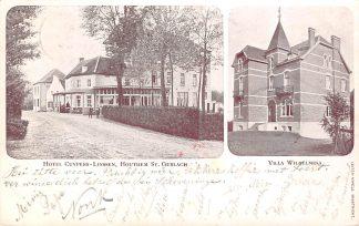 Ansichtkaart Houthem Sint Gerlach Hotel - Restaurant Cuypers-Linssen Tramhalte St. Gerlach en Villa Wilhelmina Kleinrondstempel 1903 HC25075