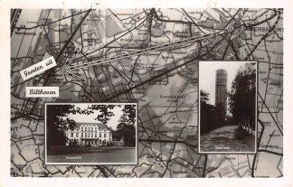 Ansichtkaart Bilthoven Groeten uit 1953 Watertoren en Gemeentehuis HC25093