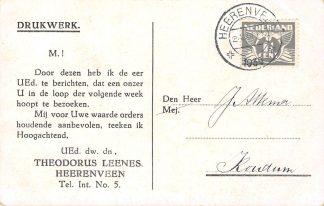 Ansichtkaart Heerenveen Aankondiging bezoek Theodorus Leenes koopman/handelaar in vetwaren, suikerwerken en koloniale waren 1935 HC25141