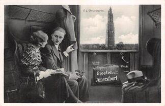 Ansichtkaart Amersfoort Groeten uit 1933 vanuit de trein O.L. Vrouwetoren HC25205