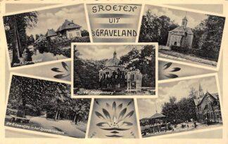 Ansichtkaart 's-Graveland Groeten uit 1935 De 2 Laantjes in het Spaanderswoud Huize Trompenburg Ned. Herv. Kerk Muziektent met Postkantoor Hilversum HC25207