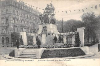 Ansichtkaart Duitsland Mannheim Jubilaums-Ausstellung Jubilaumsbrunnen am Bahnhofsplatz 1907 Internat. Kunst & Grosse Gartenbau-Ausstellung Deutschland Europa HC25215
