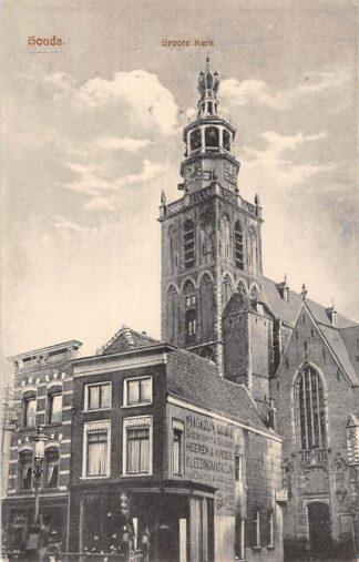 Ansichtkaart Gouda Dubbele Buurt Hoek Torenstraat met St. Jans kerk HC25248