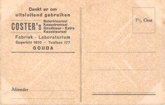Ansichtkaart Gouda Reclame Coster's Fabriek Laboratorium Boterkleursel Kaas stemsel Goudkleur – Extra en Kaaskleursel Achterzijde Riviergezicht bij Rotterdam HC25260