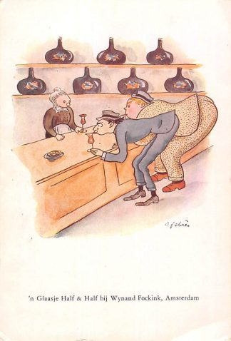 Ansichtkaart Amsterdam Reclame Wynand Fockink Pijlsteeg 29 'n Glaasje Half & Half Illustrator Oscar Fabres 1930 Humor Cartoon HC25268