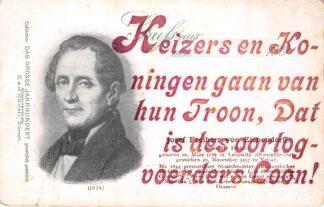 """Ansichtkaart Zwitserland WO1 1914-1918 Spot """"Keizers en Koningen gaan van hun Troon, Dat is des oorlogsvoerders Loon! Josef Freiherr von Eichendorff Deutscher Dichter Duitsland Schweiz Europa HC25275"""