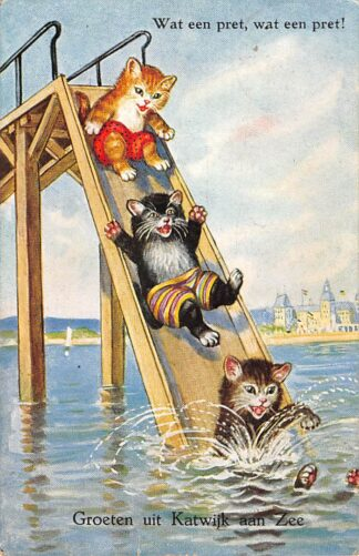 Ansichtkaart Katwijk aan Zee Groeten uit 1931 Wat een pret, wat een pret! Kind Fantasie HC25341