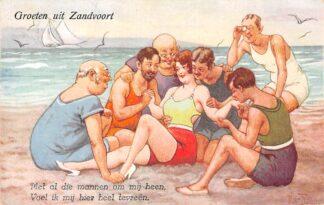 Ansichtkaart Zandvoort Groeten uit Humor Met al die mannen om mij heen, Voel ik mij hier heel tevreen Illustrator Arthur Thiele HC25392