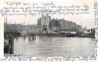 Ansichtkaart Rotterdam Leeuwenbrug met binnenvaart schepen Molen 1905 HC25496