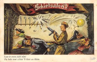 Ansichtkaart Militair Humor Laat-ie even jofel zijn! De hele tent schiet 'k kort en klein. Cartoon Illustrator Baumgarten Kermis HC25590