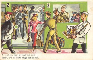 Ansichtkaart Militair Humor Je bent een heer of je bent het niet! Maar, wie de kans krijgt dat is Piet Cartoon Illustrator Baumgarten HC25591