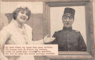 Ansichtkaart Militair Mobilisatie WO1 1914-1918 Ze bleef alleen, hij moest haar gaan verlaten, ... HC25656