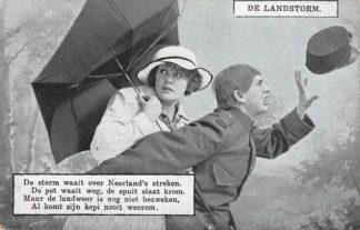 Ansichtkaart Militair Mobilisatie WO1 1914-1918 De Landstorm De storm waait over Neerland's streken. De pet waait weg ... Humor HC25658