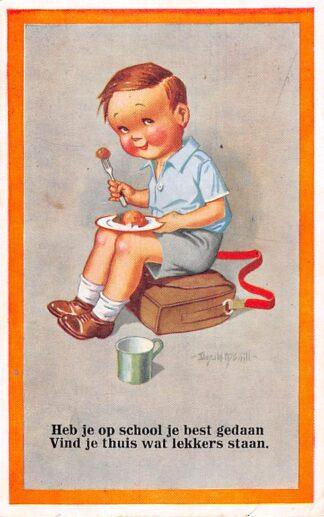 Ansichtkaart Fantasie Kind Heb je op school je best gedaan Vind je thuis wat lekkers staan Illustrator Donald Mc Gill HC25678